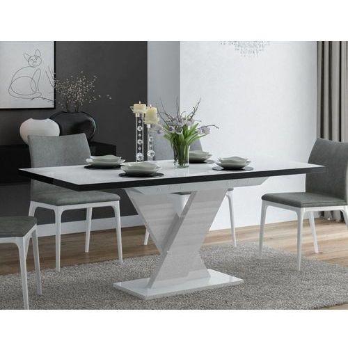 Stół rozkładany Oskar Biało-czarny wysoki połysk