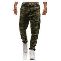 Spodnie męskie dresowe baggy moro-multikolor denley 3769c, Crws dnm
