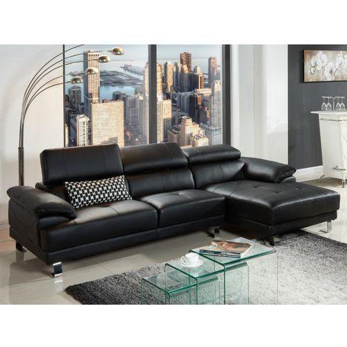 Sofa narożna ze skóry EXCELSIOR II - Czarny - Narożnik prawostronny