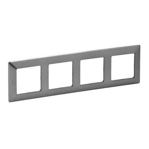 Legrand 754154 - Ramka dla przełączników VALENA LIFE 4P stal nierdzewna (3414970455208)