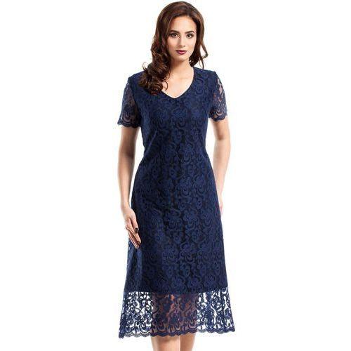 Granatowa Elegancka Koronkowa Sukienka Midi z Krótkim Rękawem, kolor niebieski