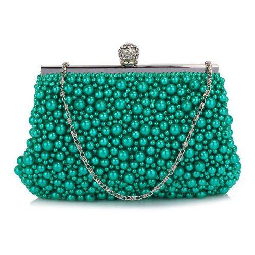 Szałowa torebka wizytowa z koralików turkusowa - turkusowy marki Wielka brytania