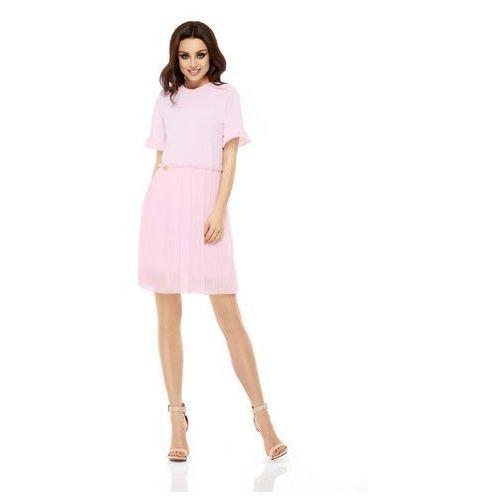 Różowa Elegancka Wyjściowa Sukienka z Plisowaniem, GL242lpi
