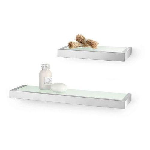Zack - półka łazienkowa szklana 46,5 cm linea - stal nierdzewna matowa