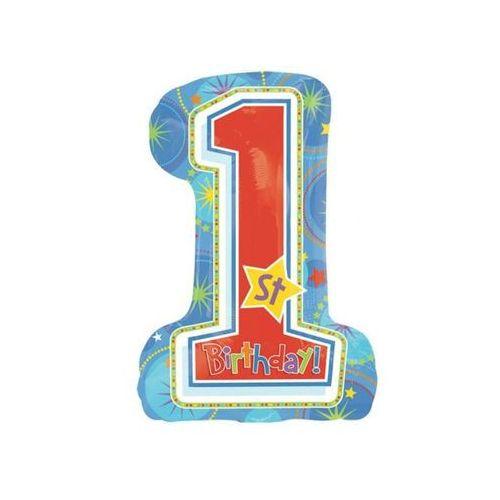 Balon foliowy cyferka niebieski na roczek 1st Birthday Blue - 48 x 71 cm - 1 szt.