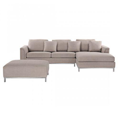 Blmeble Nowoczesna sofa z pufą w kolorze beżowym l - kanapa tapicerowana - bonaventura