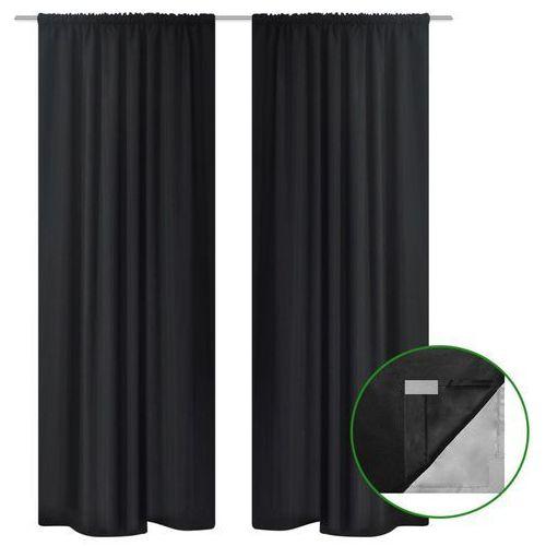 vidaXL Zasłony zaciemniające, 2 szt., dwuwarstwowe, 140x175 cm, czarne