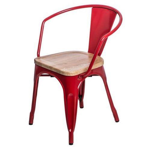 Krzesło paris arms wood sosna naturalna - czerwony marki D2.design