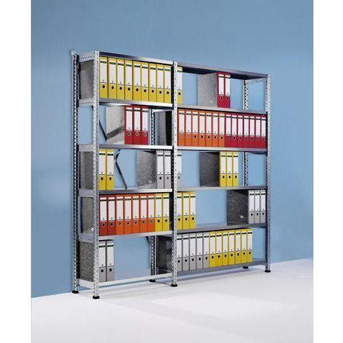 Regał wtykowy na segregatory i archiwum, ocynkowany, wys. 2280 mm, jednostronne,