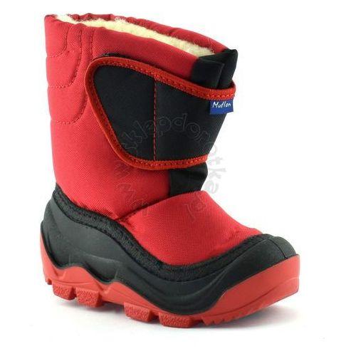 Ren but Śniegowce dla dzieci marki renbut / muflon 22-388 - czerwony ||czarny