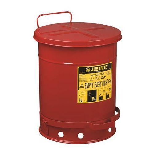 Bezpieczny pojemnik na odpady z blachy stalowej, okrągły, z pedałem nożnym, poj.
