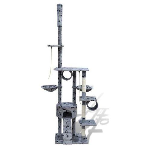 Vidaxl  drapak dla kota 220 - 240 cm, 1 domek, szary z motywem w łapki
