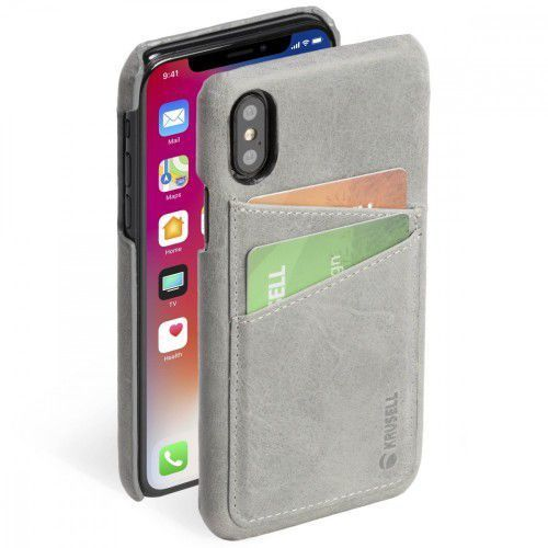 etui apple iphone x sunne 2 card cover szary marki Krusell