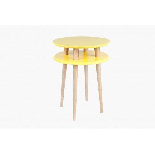 Ragaba Stolik kawowy okrągły drewniany ufo wysoki - kolor żółty/ kolor naturalny buk