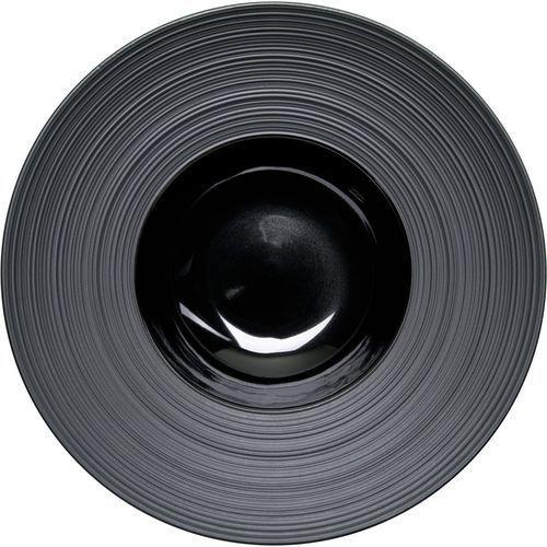 Talerz głęboki dekorowany porcelanowy czarny