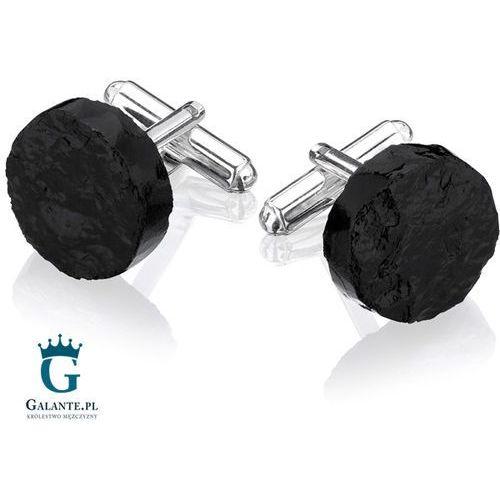 Srebrne spinki do mankietów okrągła bryłka węgla smw-001 marki Galante