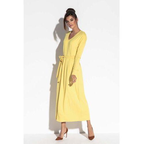 51c5b49287 Suknie i sukienki · Żółta długa sukienka w serek z wiązanym paskiem ...