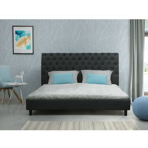 Łóżko szare - 160x200 cm - łóżko tapicerowane - stelaż - reims od producenta Beliani