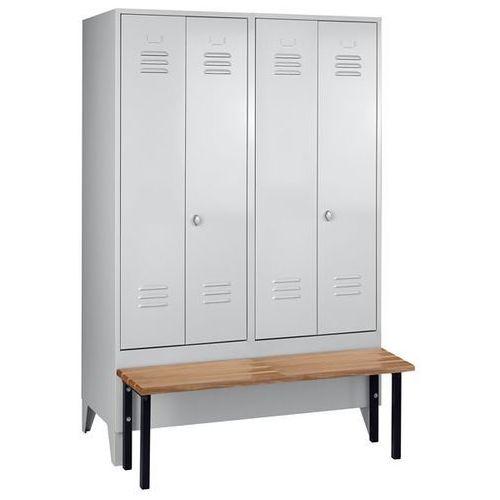 Szafka na ubrania z ławeczką z przodu, pełne drzwi, szer. przedziału 600 mm, 2 p