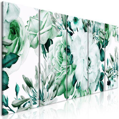 Obraz - różana kompozycja (5-częściowy) wąski zielony marki Artgeist