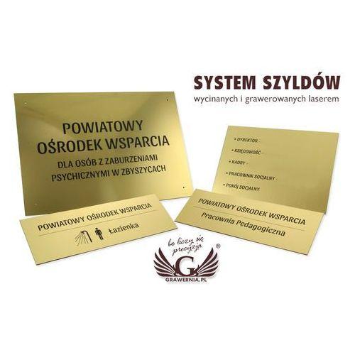 System szyldów - opracowanie graficzne szyldów i tabliczek dla szpitala, ośrodka pomocy, urzędu marki Grawernia.pl - grawerowanie i wycinanie laserem