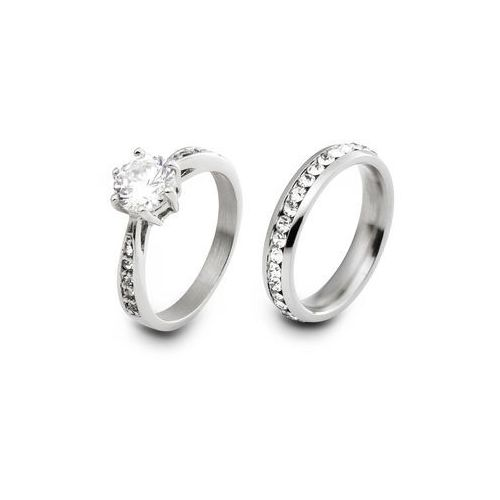 Komplet 2 pierścionków bonprix srebrny kolor