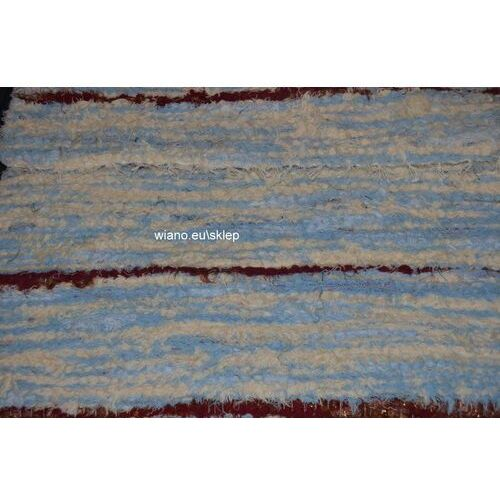 Chodnik bawełniany, ręcznie tkany, niebiesko-ecru-brązowy 65x120
