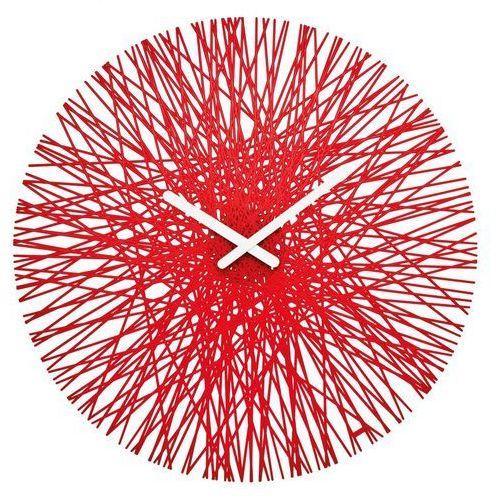 Zegar ścienny SILK, okrągły - kolor czerwony, KOZIOL, kolor transparent