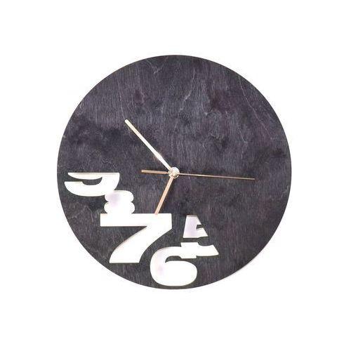Drewniany zegar na ścianę Abstrakcja ze złotymi wskazówkami