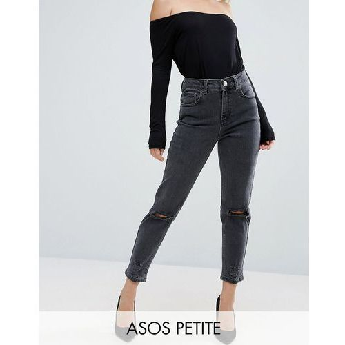 farleigh slim mom jeans in washed black with busted knees - black marki Asos petite
