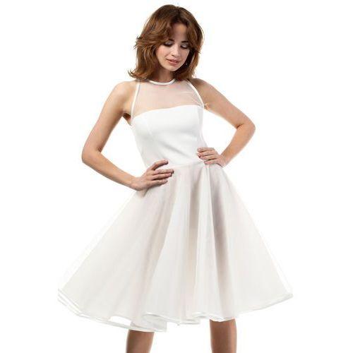 Ecru Wieczorowa Sukienka z Prześwitującym Modnie Karczkiem, kolor beżowy