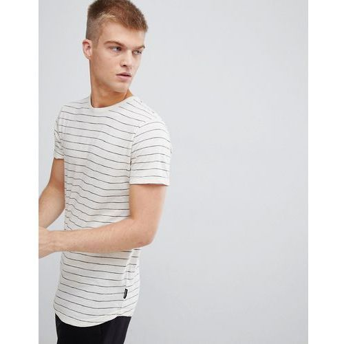 D-Struct Striped Curved Hem Long Line Slub Jersey T-Shirt - White