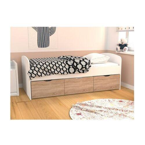 Łóżko LOUANE z 2 szufladami i 1 pojemnikiem na pościel – 90 × 190 cm – kolor biało-dębowy