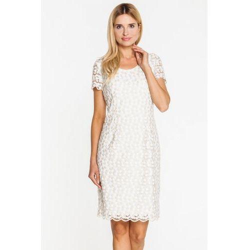 Sukienka w drobną, beżową koronkę - Vito Vergelis, kolor beżowy