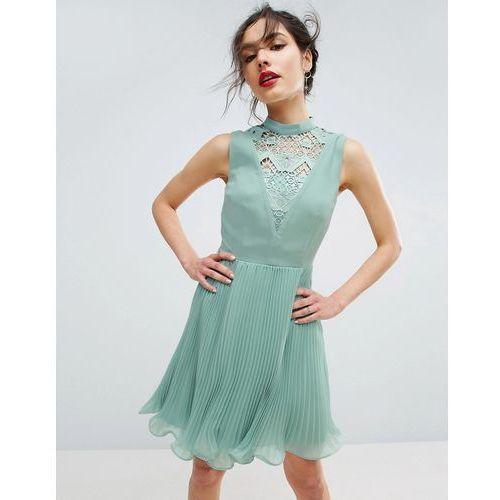 sleeveless lace insert mini dress - green marki Asos