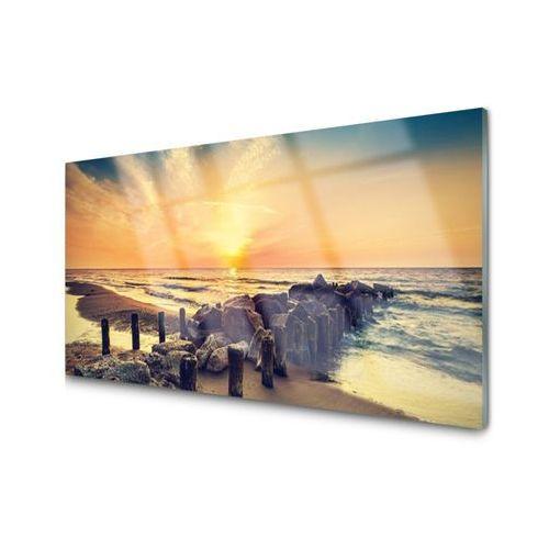 Obraz Akrylowy Plaża Falochron Morze Zachód