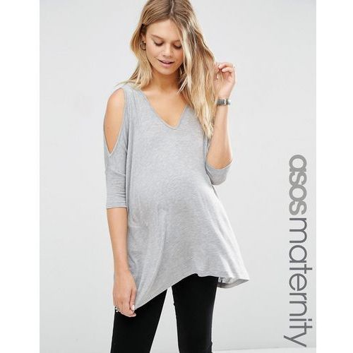 ASOS Maternity Oversized Cold Shoulder Top with Asymmetric Hem - Grey