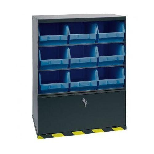 Szafki z plastikowymi pojemnikami i szufladą, 9 boksów