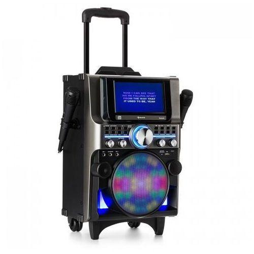 Auna Disgo box 360 zestaw nagłaśniający 2 mikrofony hdmi bt led usb kółka czarny