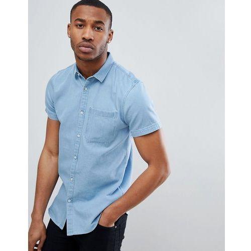 New Look Regular Fit Short Sleeve Denim Shirt In Light Blue Wash - Blue, kolor niebieski