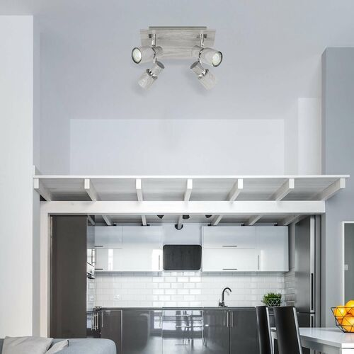 Rabalux Plafon lampa sufitowa spot merkur 4x50w gu10 wyblakły dąb 6128 (5998250361284)
