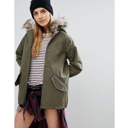 Brave Soul Parka With Faux Fur Trim Hood And Tape Details - Green, kolor zielony