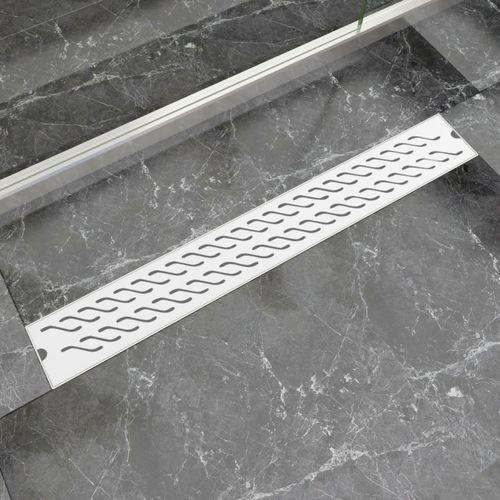vidaXL Kratka odpływowa, liniowa, 830x140 mm, wzór fali, stal nierdzewna (8718475979074)