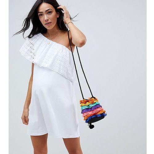 Asos design maternity one shoulder broderie swing sundress - white, Asos maternity