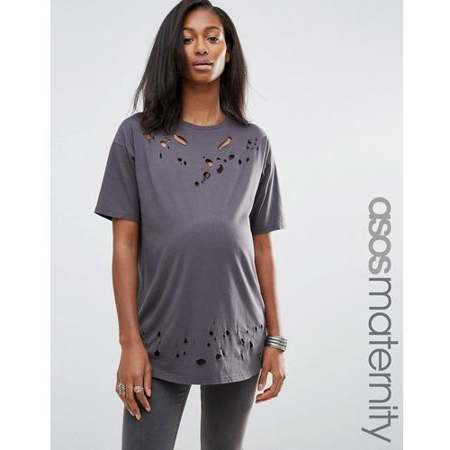 Asos maternity  t-shirt in boyfriend fit with distressed detail and nibbling - grey