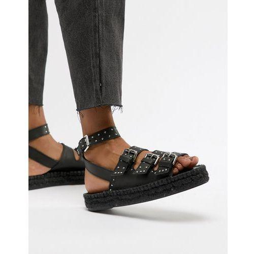 design jaffia premium leather studded gladiator espadrilles - black marki Asos