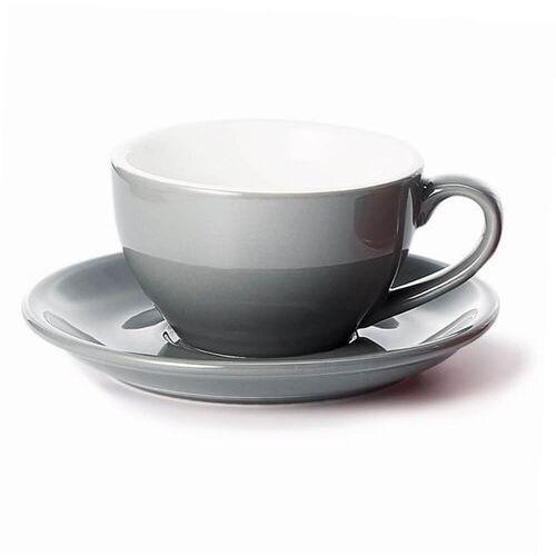Cup&you cup and you Filiżanka ze spodkiem szara – klasyczny zestaw na kawę herbatę, elegancki prezent podarunek dla mamy taty babci dziadka