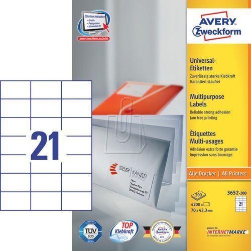 Etykiety uniwersalne Avery Zweckform trwałe 70 x 42,3mm 200 ark./op. 3652-200, 87491