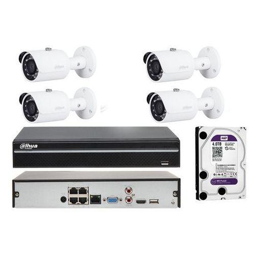 Gotowy zestaw do monitoringu na 4 kamery tubowe z klasą szczelności ip67 marki Dahua