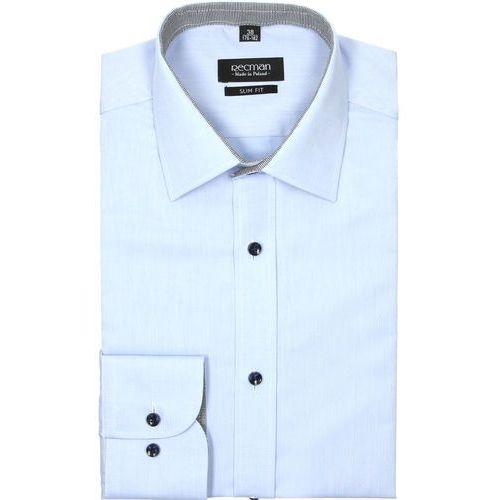 Koszula bexley 2408 długi rękaw slim fit niebieski, Recman